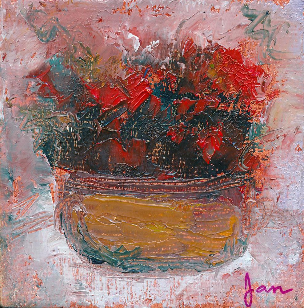 """Red Flowers in Copper"" original fine art by Janet Gunderson"