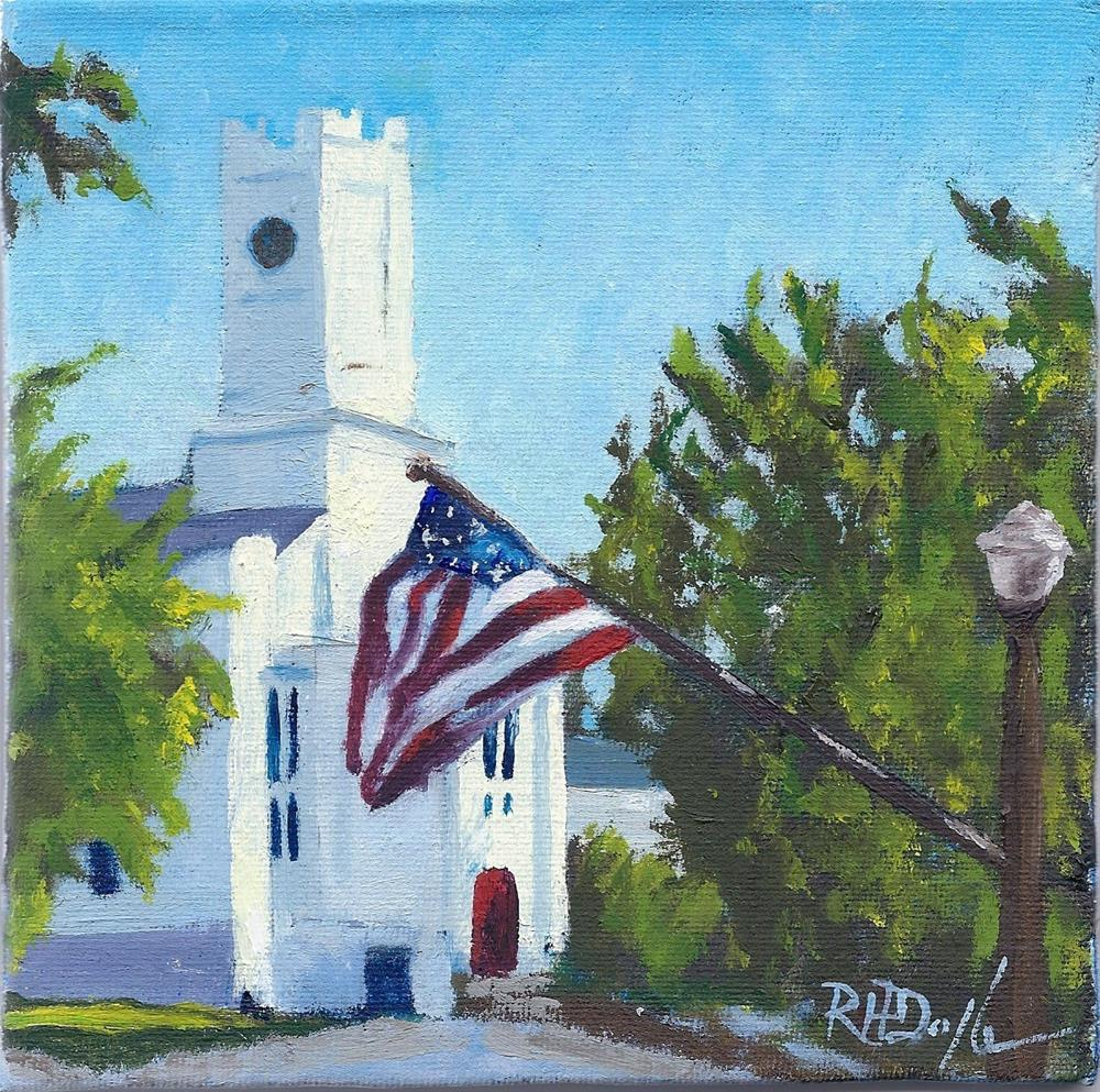 """Southold Church"" original fine art by Richard Doyle"