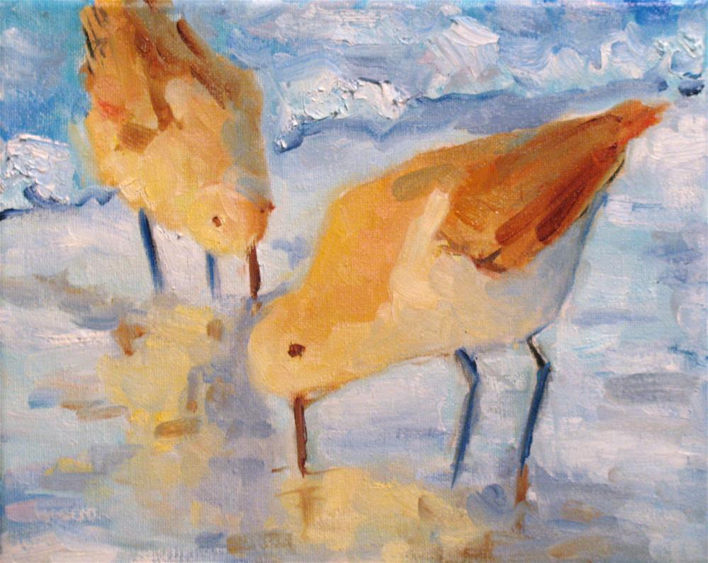 """Pair of Dunlins"" original fine art by Susan Elizabeth Jones"