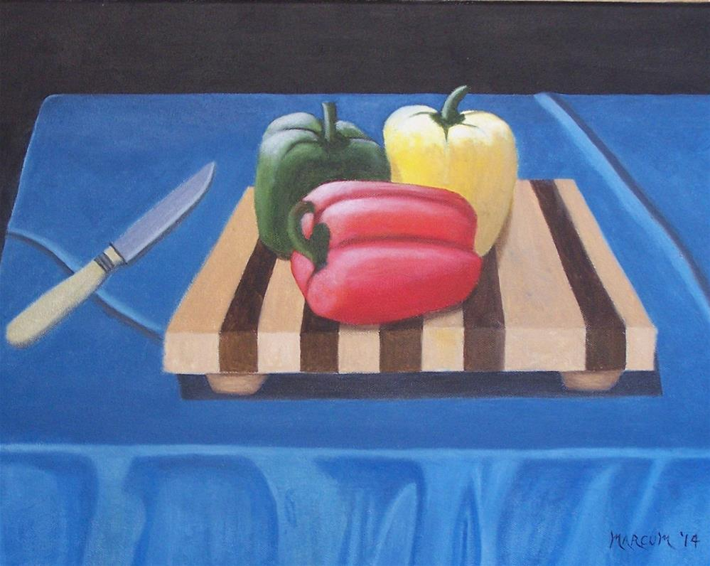 """Peppers on a table"" original fine art by John Marcum"