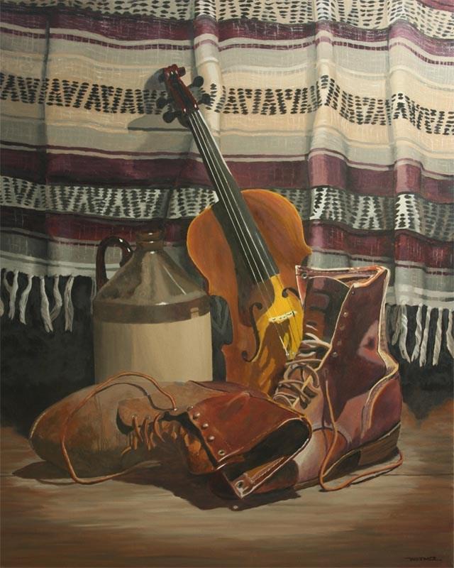 """The Fiddler's Boots"" original fine art by Kirk Witmer"