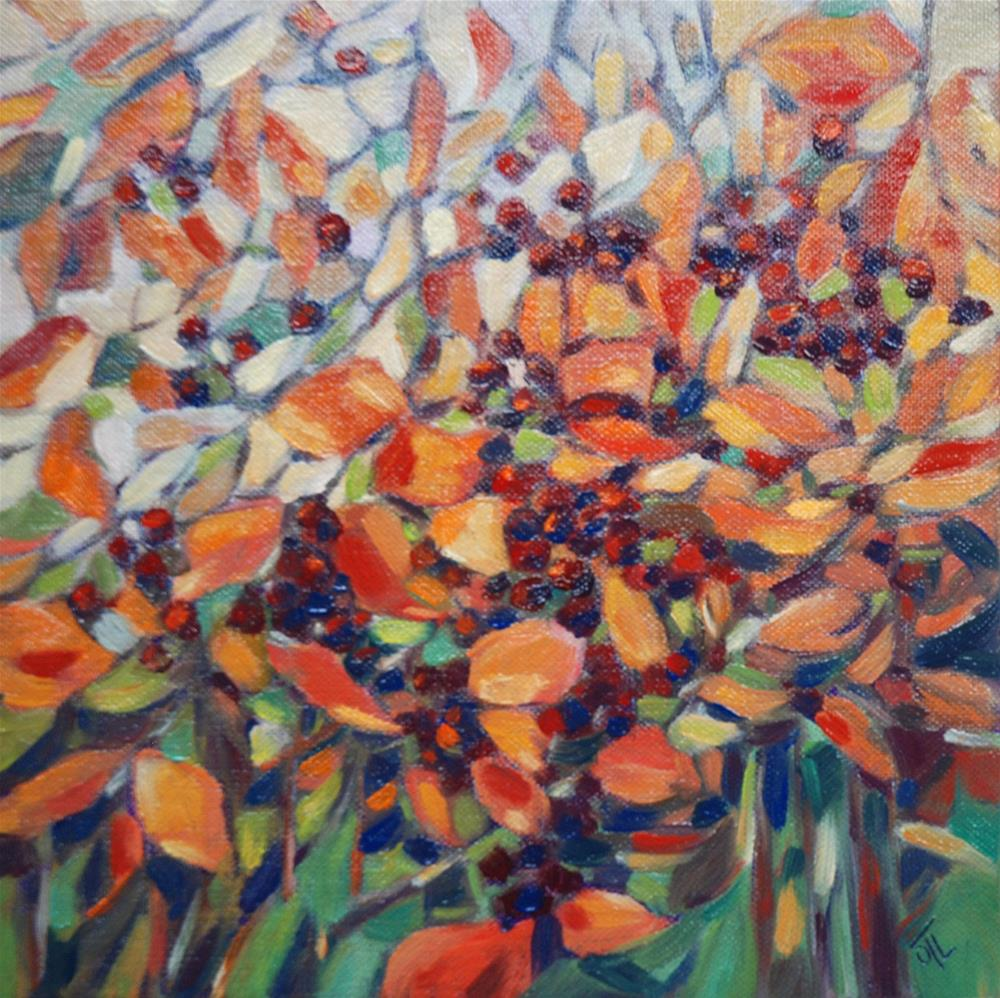 """Autumn berries"" original fine art by Olga Touboltseva-Lefort"