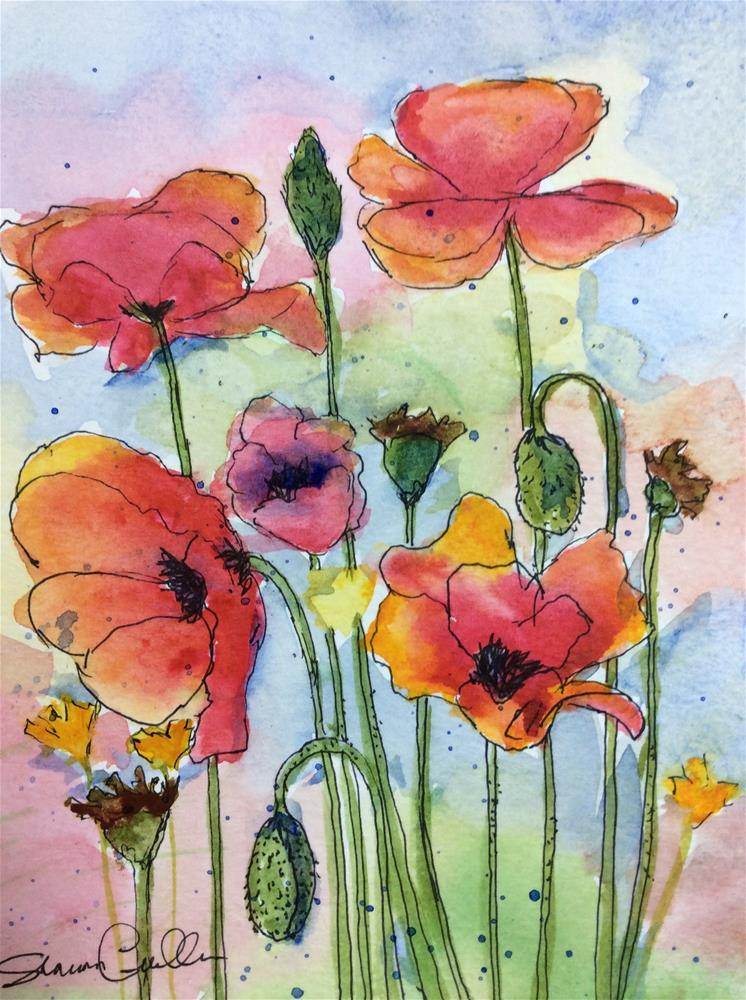 """Colorful Poppies"" original fine art by Sharon Cullen"