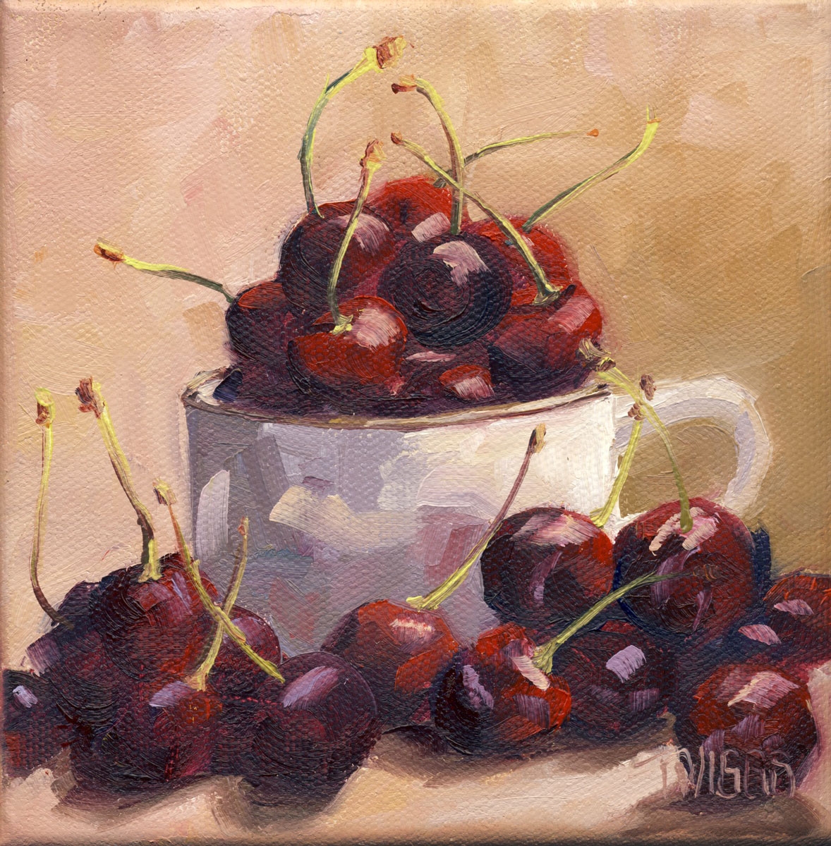 """Cherries 1"" original fine art by Lori Twiggs"