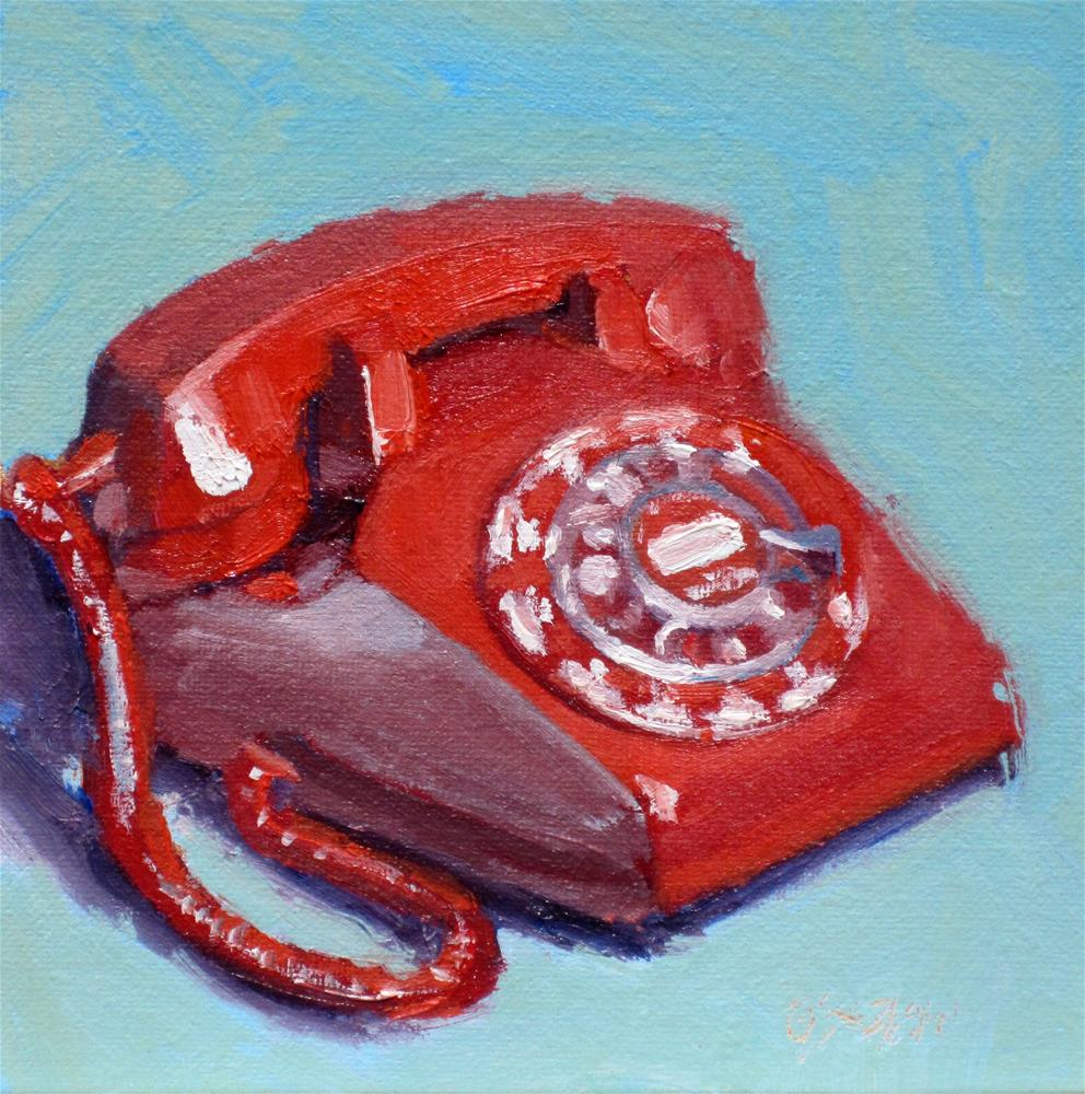 """red telephone"" original fine art by Dan Graziano"