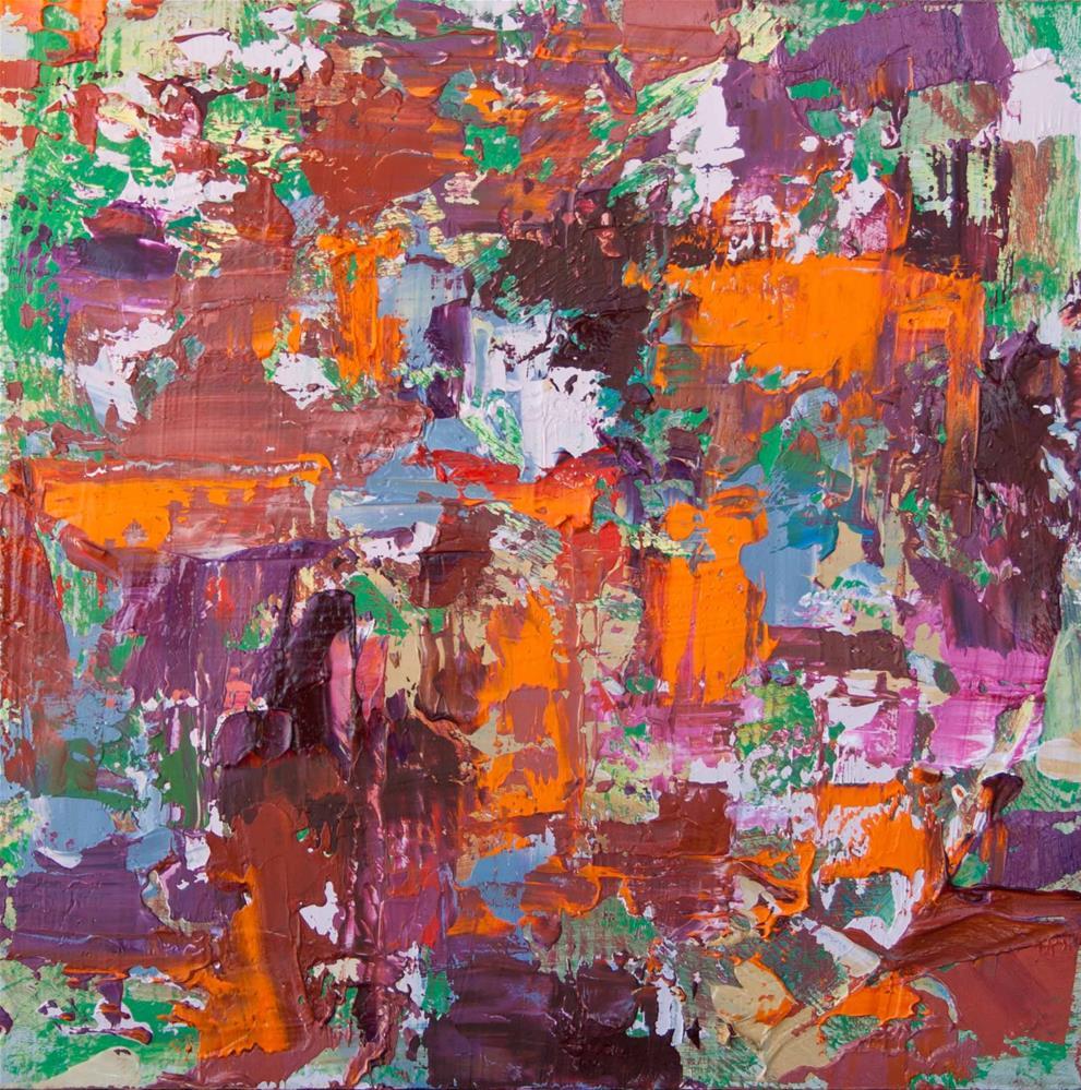 """Orange, Cordovan, Green"" original fine art by Cynthia Mahlberg"