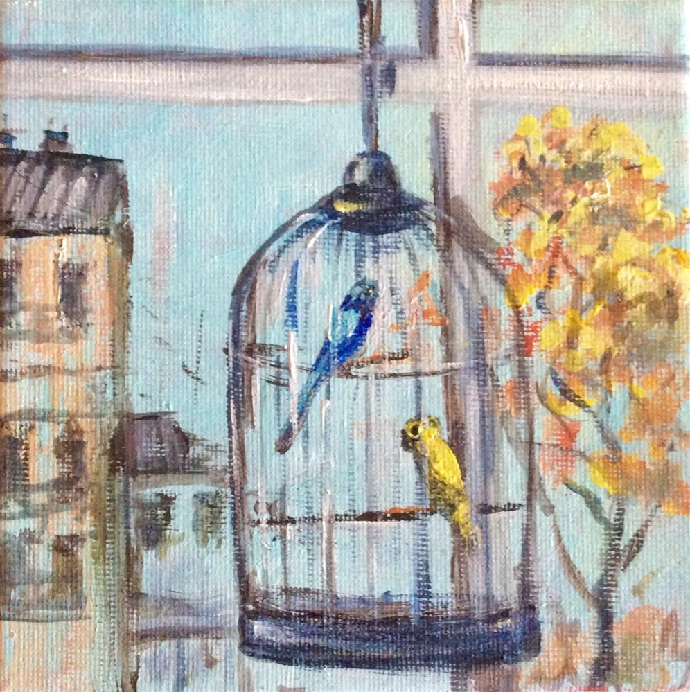 """Lovebirds in bird cage"" original fine art by Sonia von Walter"