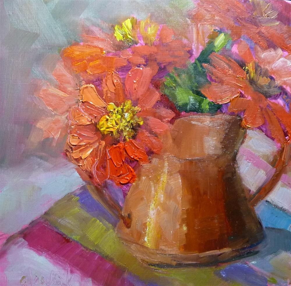 """Zinnias in Copper"" original fine art by Carol Josefiak"