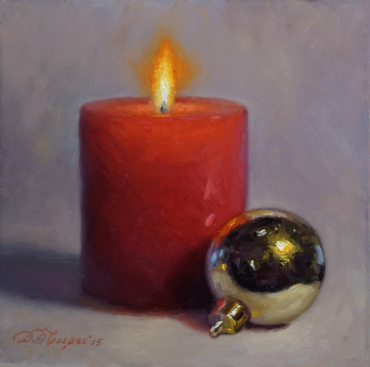 """Candle with Ornament"" original fine art by Debra Becks Cooper"