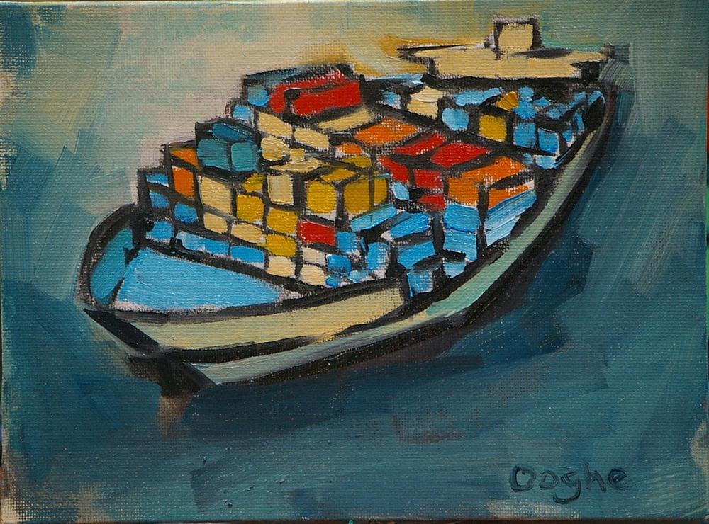 """Container Ship 3"" original fine art by Angela Ooghe"