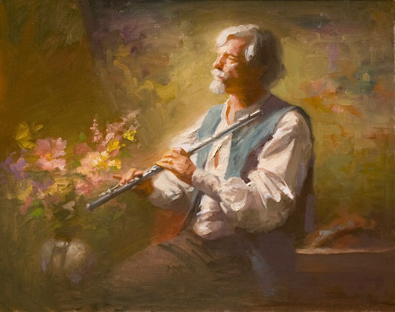 """""""The Flutist"""" original fine art by Charles Young Walls"""