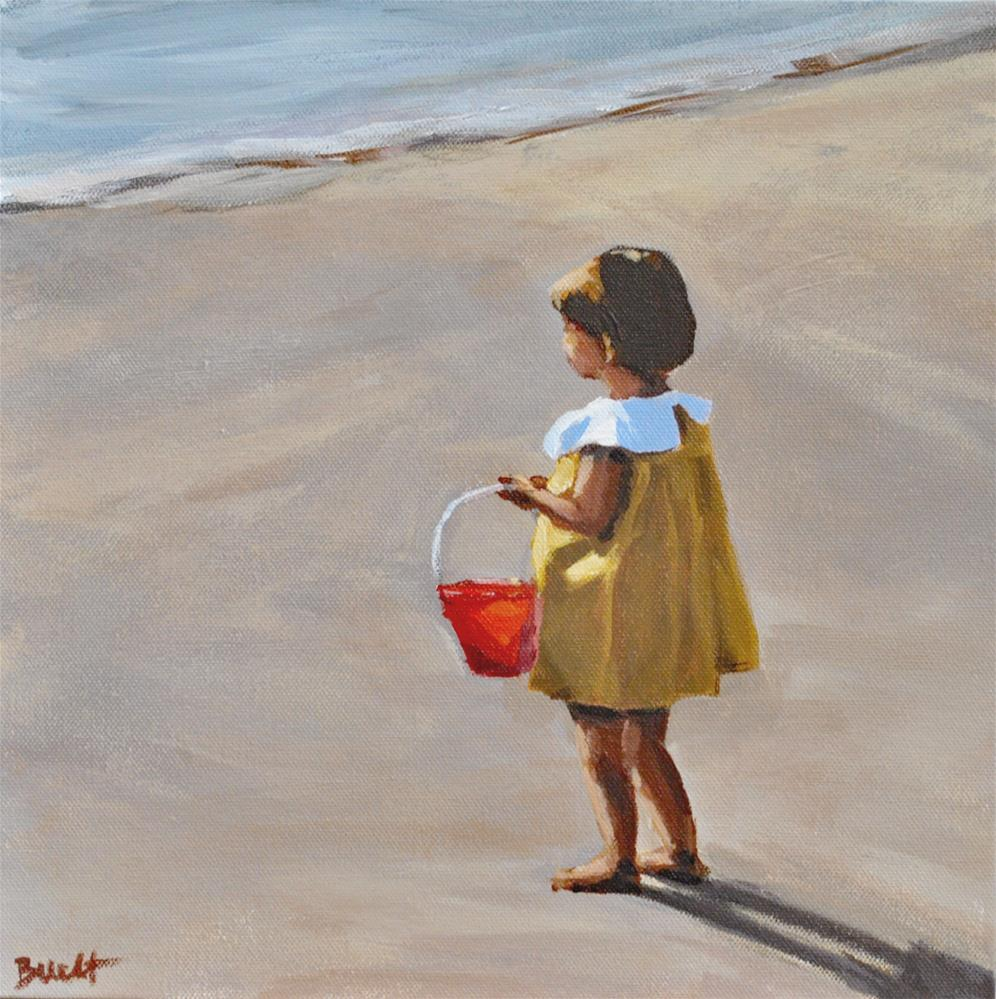 """Molly and Her Red Bucket"" original fine art by Shari Buelt"