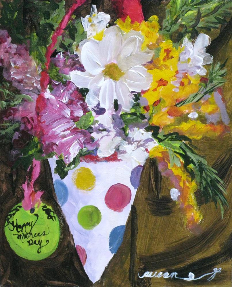 """May Day Mother's Day Basket"" original fine art by Susan Elizabeth Jones"