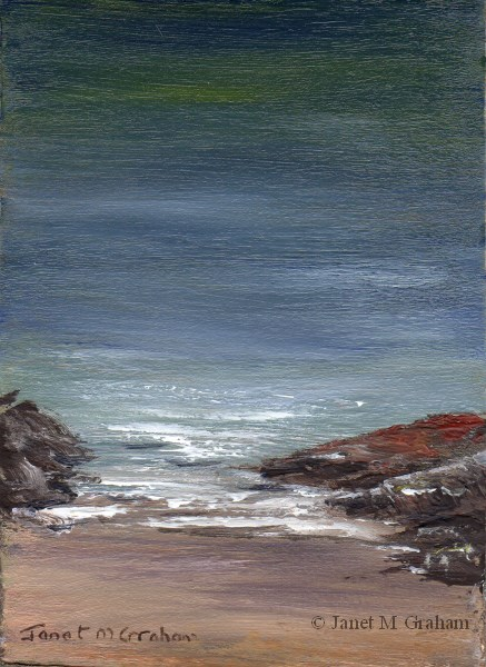 """Seascape 6 ACEO"" original fine art by Janet Graham"