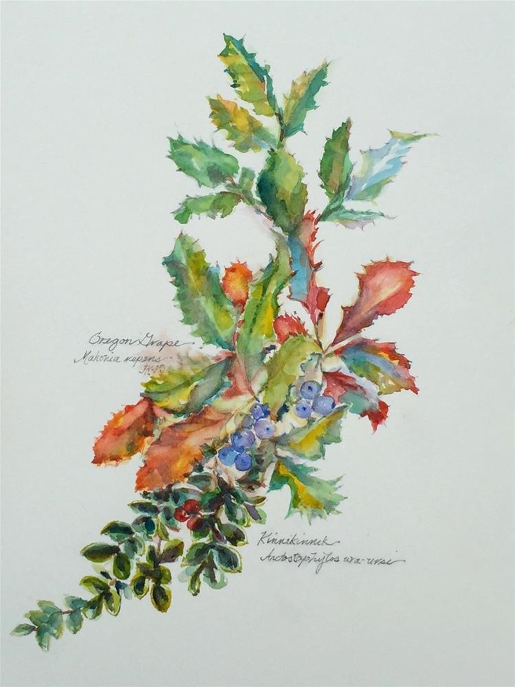 """""""Oregon Grape & Kinnikinnik"""" original fine art by jean krueger"""