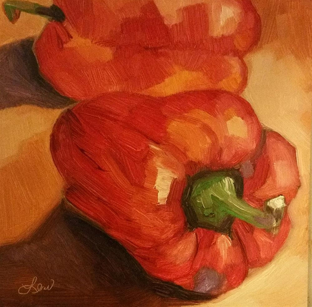 """Two Peppers"" original fine art by Leni Tarleton"