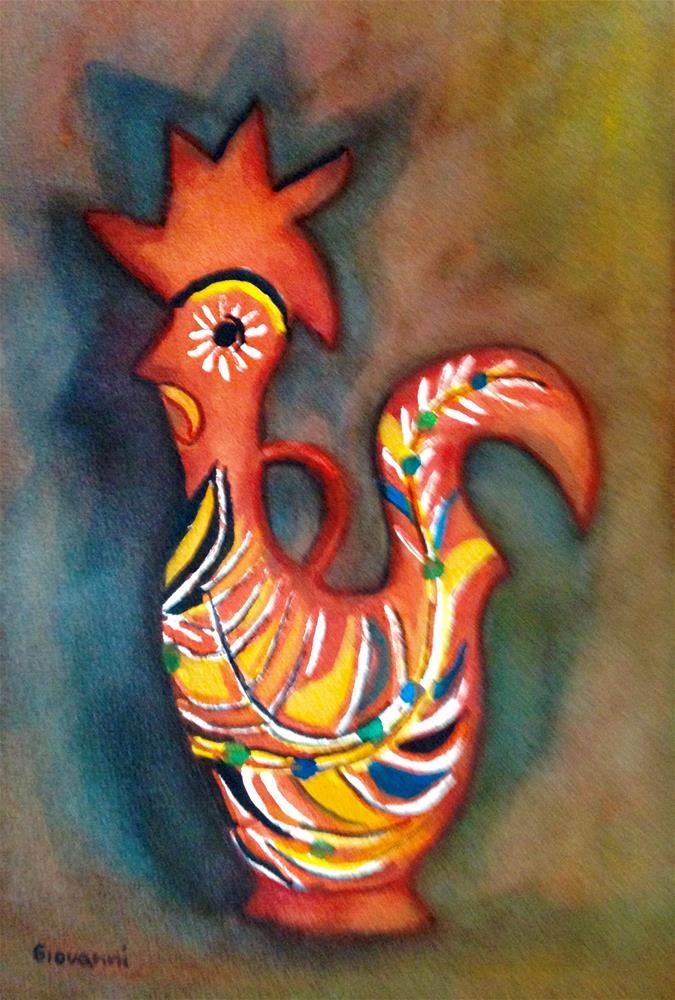 """""""Gallo de Barro (Honduran's ceramic chicken)"""" original fine art by Giovanni Antunez"""