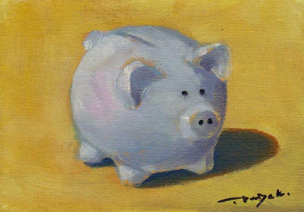 """""""piggy"""" original fine art by V. DeBak"""