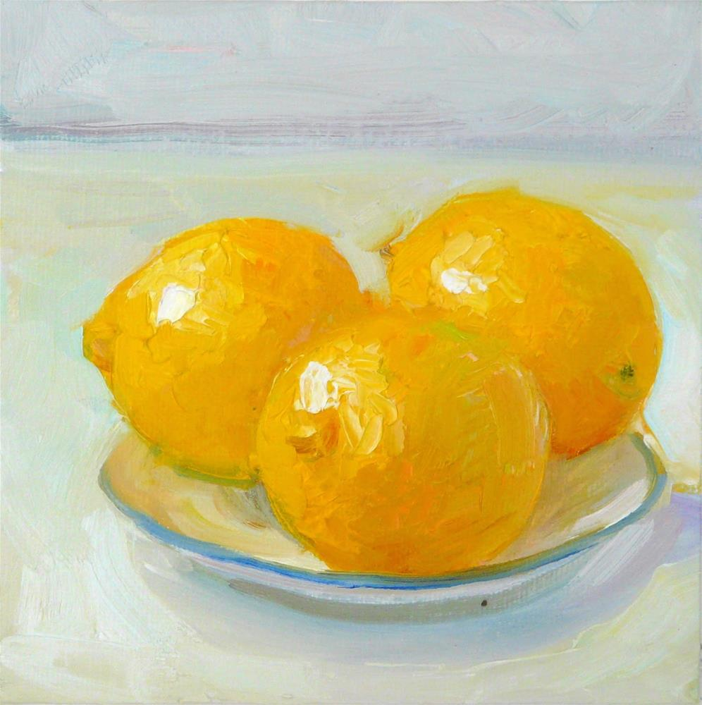 """Plate of Lemons,still life,oil on canvas,6x6,price$200"" original fine art by Joy Olney"