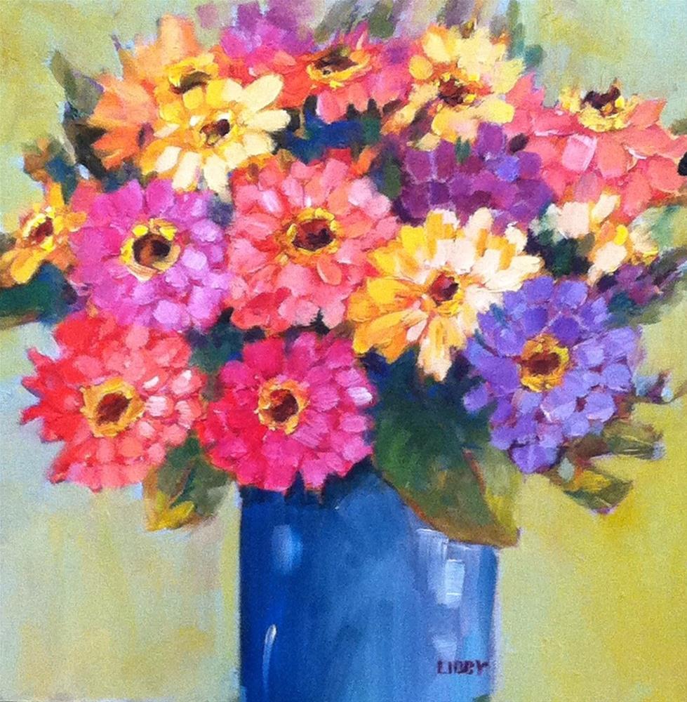 """Zinnia Zest"" original fine art by Libby Anderson"