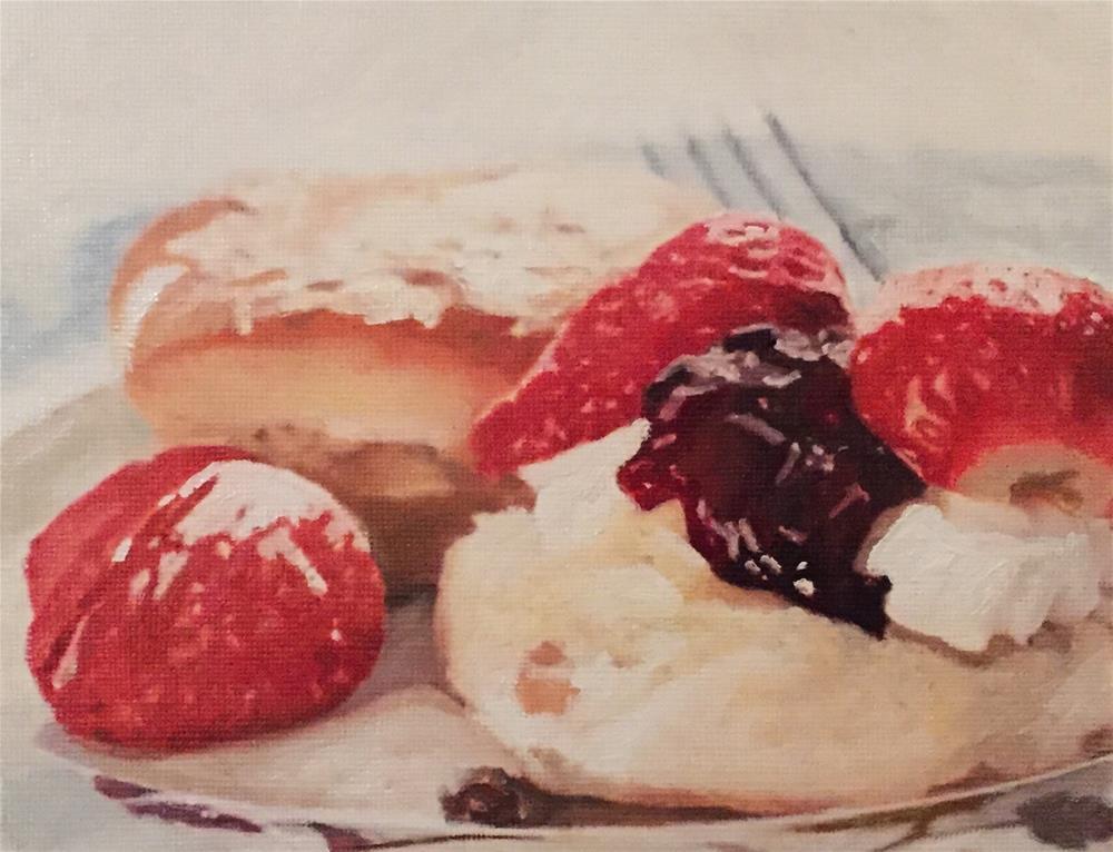 """Strawberries & Scones"" original fine art by John Cameron"