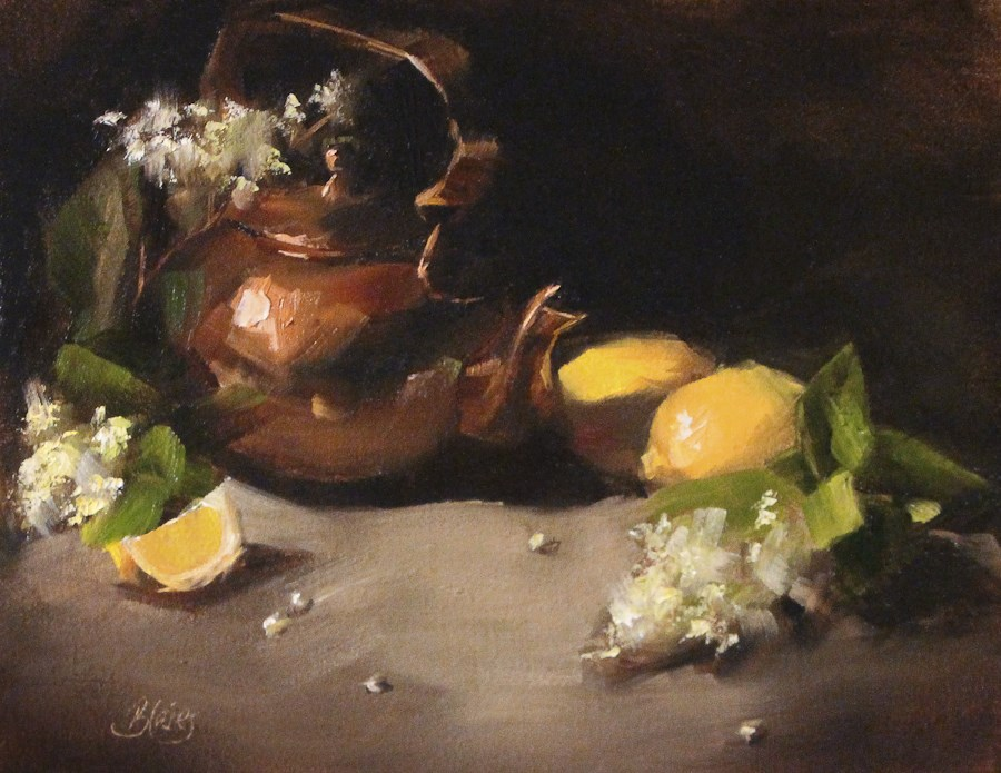 """Copper Teapot and Lemons"" original fine art by Pamela Blaies"