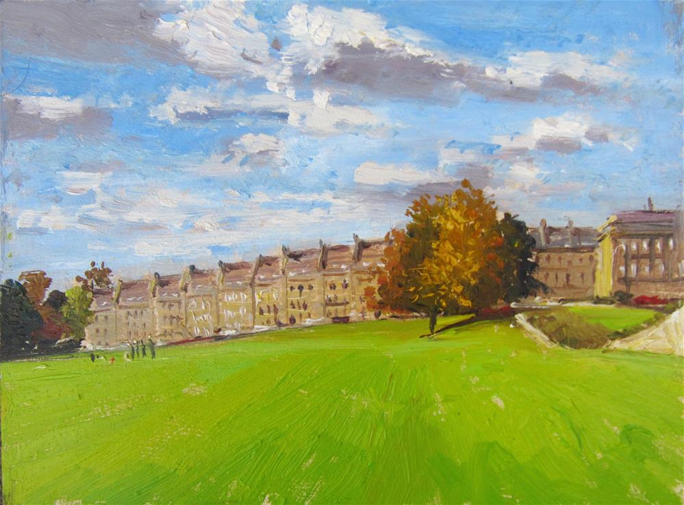 """City of Bath Landscape 12"" original fine art by Adebanji Alade"