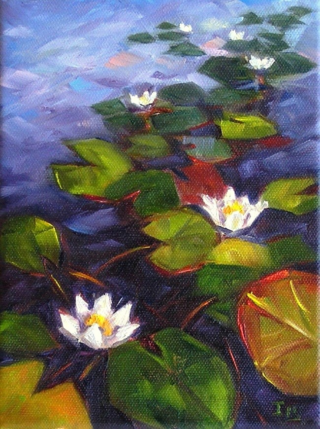 """Waterlilies for the little Monet-ish challenge"" original fine art by Irina Beskina"