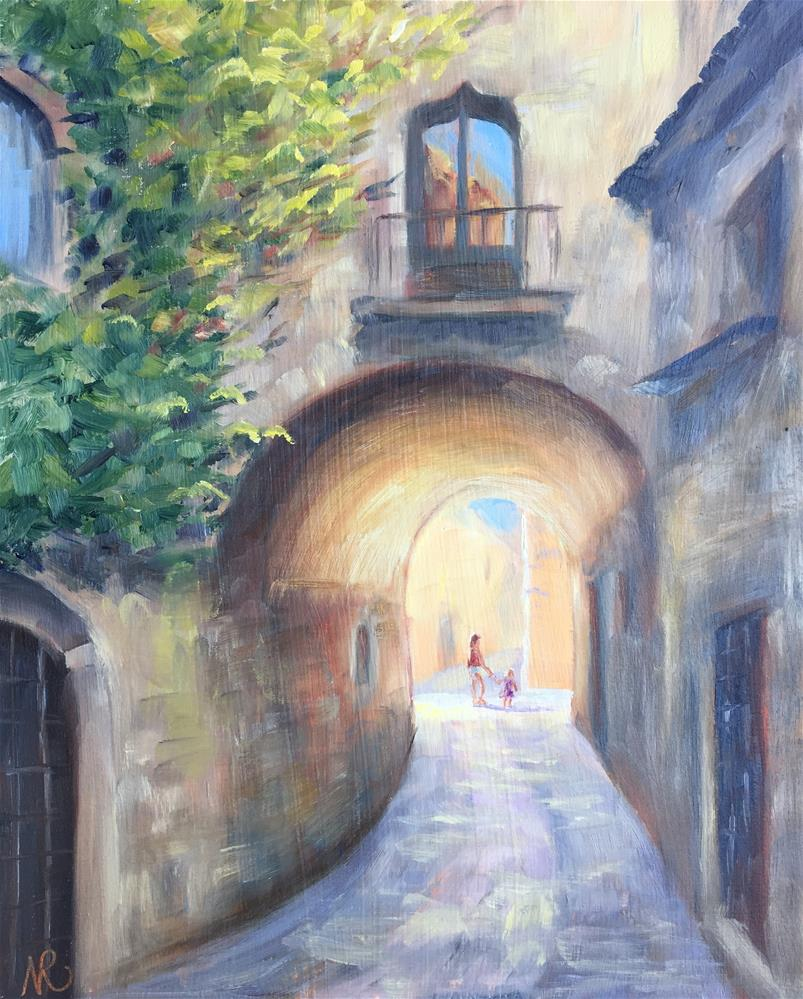 """On the streets of Pals"" original fine art by Natasha Ramras"