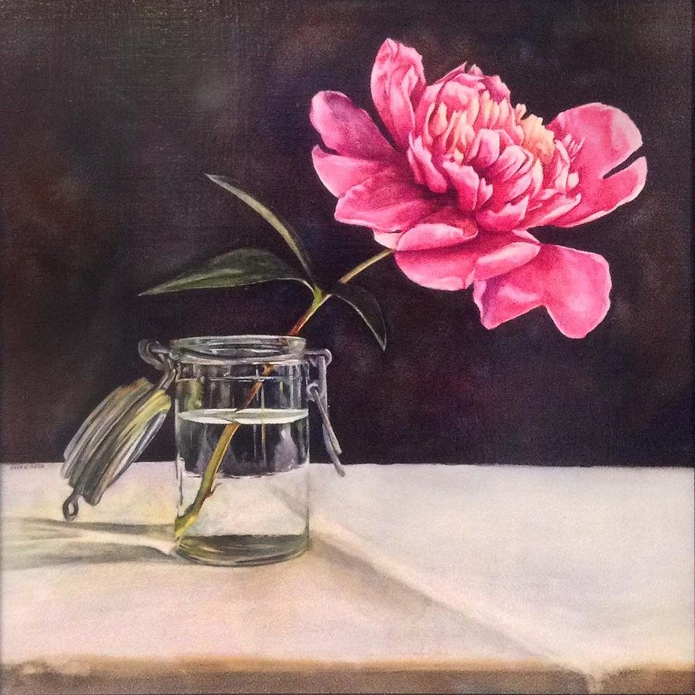 """Peony in Glass"" original fine art by Kara K. Bigda"