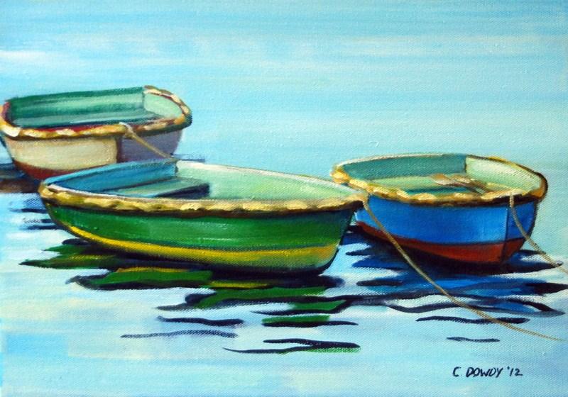 """Three Row Boats"" original fine art by Christina Dowdy"