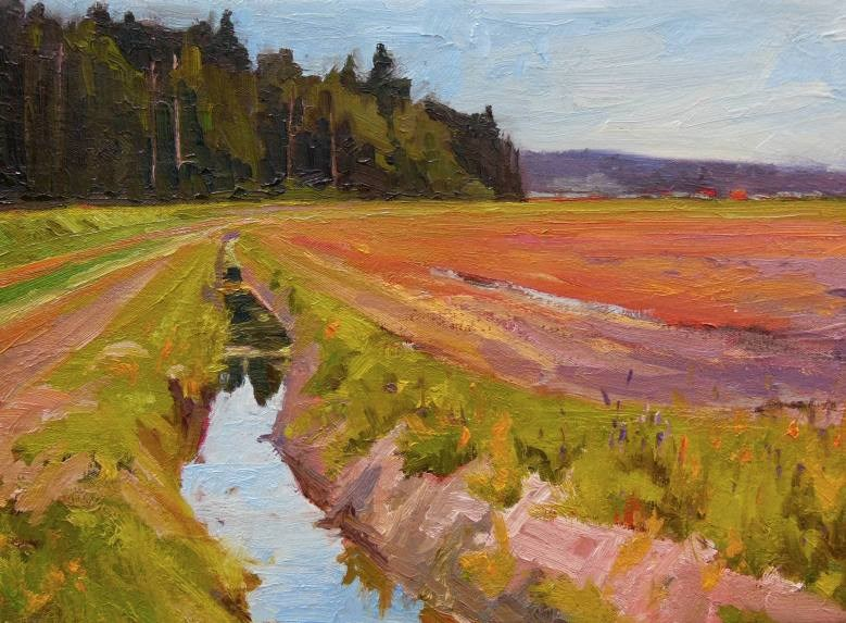 """Irrigation Ditch  LaConner series, plein air, oil landscape painting by Robin Weiss"" original fine art by Robin Weiss"