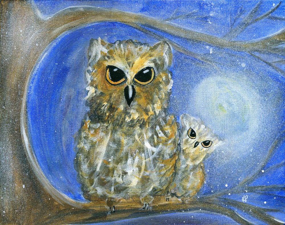 """Whoooo's that, Mama?"" original fine art by Kali Parsons"