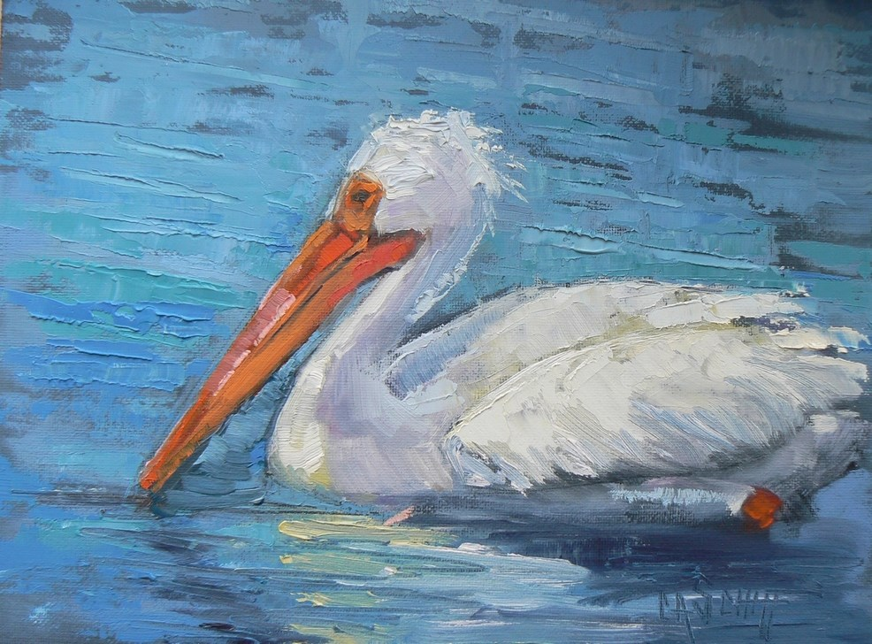 """Painting on Sale, Daily Painting, Small Oil Painting, Pelican Painting, 6x8 Oil"" original fine art by Carol Schiff"