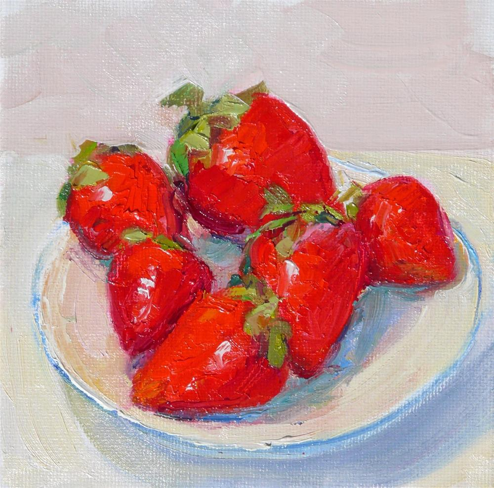 """Strawberry plate,still life,oil on canvas,6x6,price$200"" original fine art by Joy Olney"
