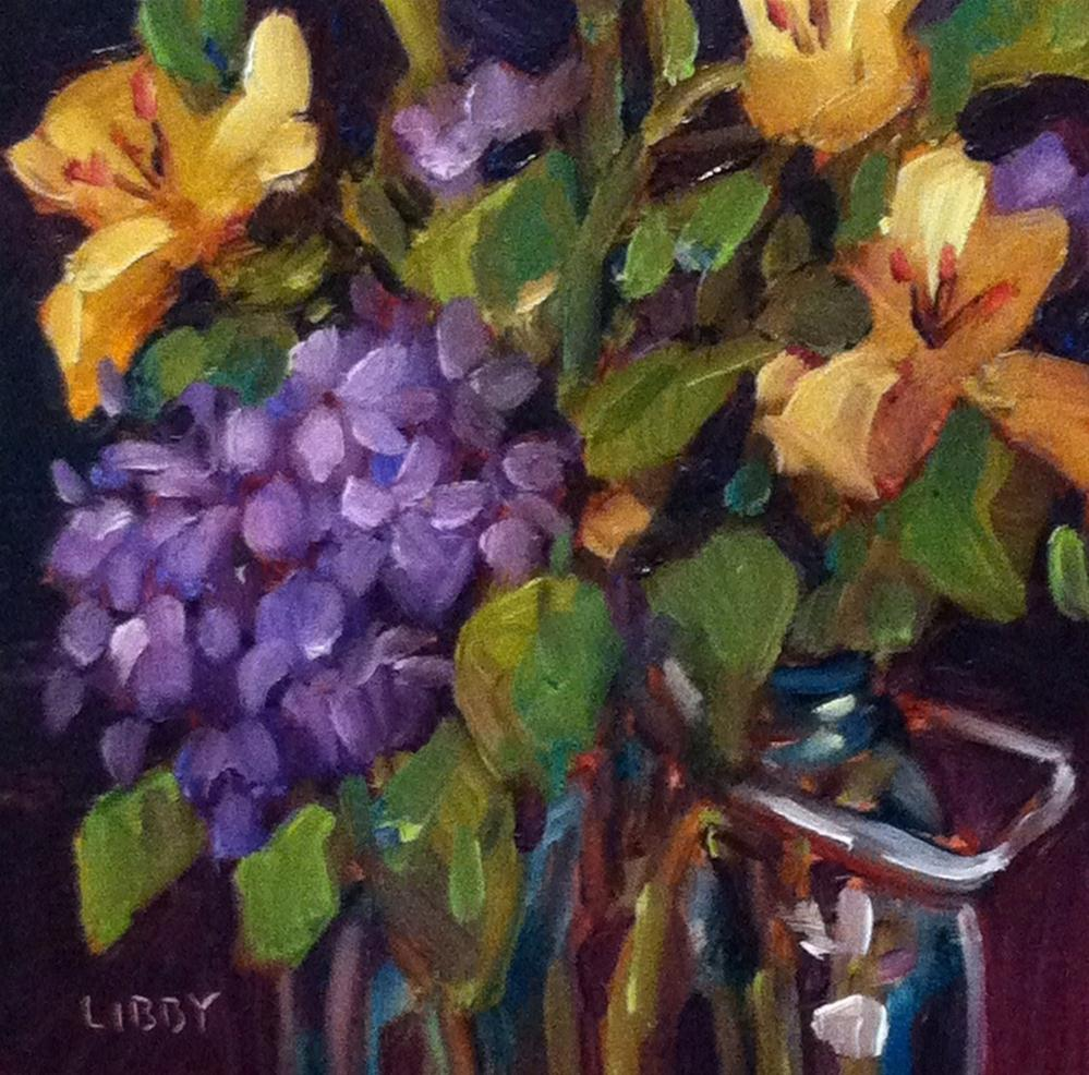 """Lilies and Lilacs"" original fine art by Libby Anderson"