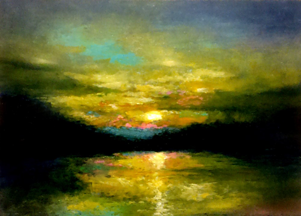 """River Sunset"" original fine art by Bob Kimball"
