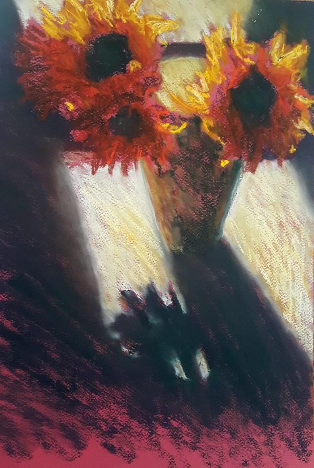 """Fire flowers"" original fine art by Rentia Coetzee"
