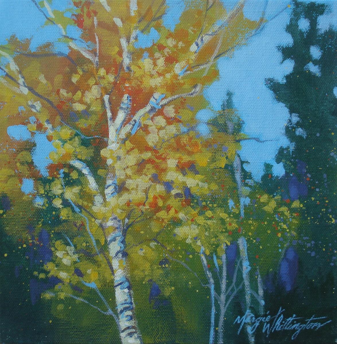 """Triptych, Aspens 2"" original fine art by Margie Whittington"
