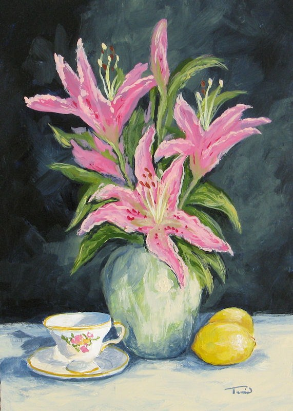 """Tea with Lilies"" original fine art by Torrie Smiley"