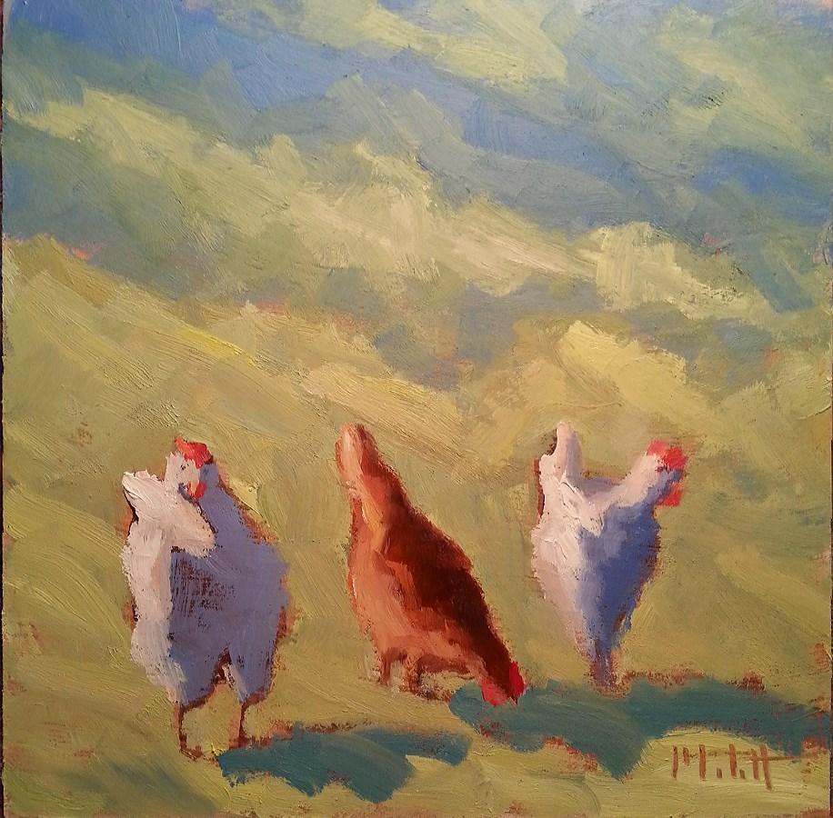 """""""The Girls Enjoying the Sunshine Chicken Painting"""" original fine art by Heidi Malott"""