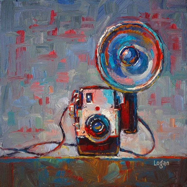 """Kodak Brownie Bull's Eye Camera with Flash"" original fine art by Raymond Logan"
