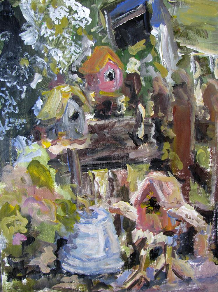 """Collection of Birdhouses"" original fine art by Susan Elizabeth Jones"