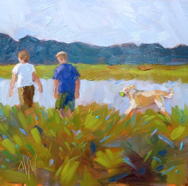"""Happy Anniversary 6x6 oil on panel. An anniversary gift from a wife to her husband. They frequently walk by the river with their yellow lab, Sam. He was delighted. Got tears in his eyes she told me ;)"" original fine art by Mary Sheehan Winn"