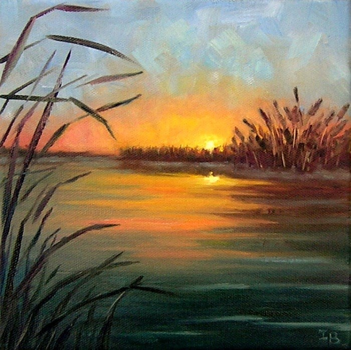 """Quiet Sunset"" original fine art by Irina Beskina"