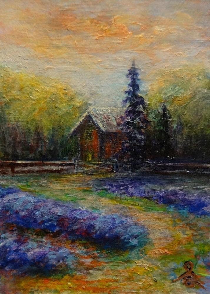 """4011 - LAVENDER FARM TWILIGHT - ACEO Series"" original fine art by Sea Dean"