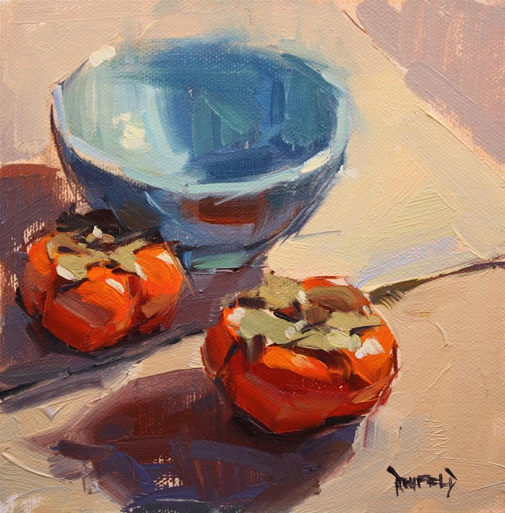 """Persimmons and Blue Bowl"" original fine art by Cathleen Rehfeld"