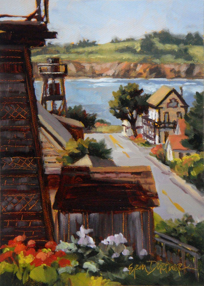 """Peek Around the Water Towers"" original fine art by Erin Dertner"