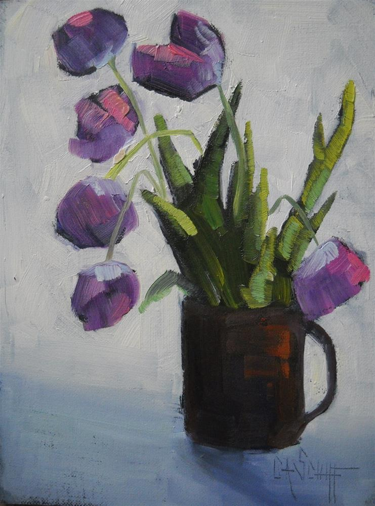 """Floral Still Life Painting, Tulip Painting, Cup O Tulips 6x8 Oil"" original fine art by Carol Schiff"