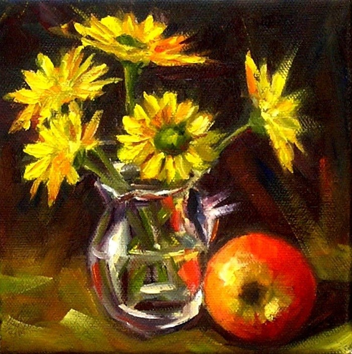 """Yellow flowers"" original fine art by Irina Beskina"